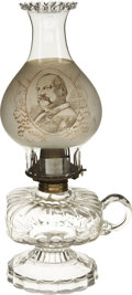 Political:3D & Other Display (pre-1896), Cleveland & Thurman: Choice 1888 Political Glass Kerosene Lampwith Portraits of the Democratic Running Mates on Opposite Side...