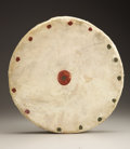 American Indian Art, A NORTHERN PLAINS PAINTED HIDE AND WOOD DRUM. c. 1890...
