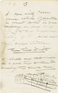 Autographs:Artists, Winslow Homer 1907 Autograph Letter Signed...