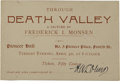 Miscellaneous:Catalogs, Advertising Card Lecture Through Death Valley, 1894. . ...