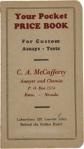 Miscellaneous:Booklets, Your Pocket Price Booklet for Custom Assays, Reno, Nevada, 1905.....