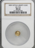 California Fractional Gold: , 1859 25C Liberty Octagonal 25 Cents, BG-702, R.3, MS66 NGC. NGCCensus: (17/2). PCGS Population (1/0). (#10529)...