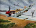Mainstream Illustration, LEN MUSK (American 20th Century). Flying Aces. Acrylic onboard. 24 x 30 in.. Signed lower right. ...