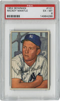 Baseball Cards:Singles (1950-1959), 1952 Bowman Mickey Mantle #101 PSA EX-MT 6. One of the remarkablekeys to the wildly popular 1952 Bowman issue, this superb...