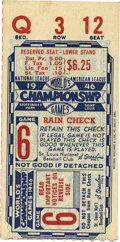 Baseball Collectibles:Tickets, 1946 World Series Game 6 Ticket Stub. The St. Louis Cardinalsfielded some exceptional teams in the 1940s, taking home the ...
