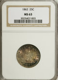 Seated Quarters: , 1862 25C MS63 NGC. NGC Census: (16/51). PCGS Population (26/59).Mintage: 932,000. Numismedia Wsl. Price for NGC/PCGS coin ...