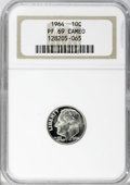 Proof Roosevelt Dimes: , 1964 10C PR69 Cameo NGC. NGC Census: (351/0). PCGS Population(289/1). Numismedia Wsl. Price for NGC/PCGS coin in PR69: $5...