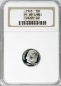 Proof Roosevelt Dimes: , 1963 10C PR69 Cameo NGC. NGC Census: (240/0). PCGS Population(236/0). Numismedia Wsl. Price for NGC/PCGS coin in PR69: $5...