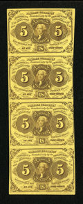 Fractional Currency:First Issue, Fr. 1230 5c First Issue Vertical Strip of Four Choice New....