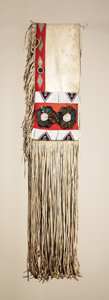 American Indian Art:Beadwork and Quillwork, A NORTHERN PLAINS BEADED HIDE DOUBLE SADDLE BAG. c. 1900...