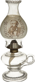 Political:3D & Other Display (pre-1896), Harrison & Morton: Scarce Glass Political Kerosene Lamp from1888....
