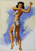 Paintings, EARL MORAN (American 1893 - 1984). Hawaiian Dancer, pinup drawing. Pastel on board. 26 x 18 in.. Signed lower right. ...