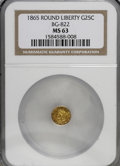 California Fractional Gold: , 1865 25C Liberty Round 25 Cents, BG-822, R.4, MS63 NGC. NGC Census:(2/0). PCGS Population (12/5). (#10683)...