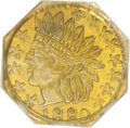 California Fractional Gold, 1880 25C Indian Octagonal 25 Cents, BG-799Y, High R.4, MS63 PCGS.PCGS Population (20/23). NGC Census: (2/7). (#10651)...