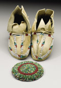 American Indian Art:Beadwork and Quillwork, A PAIR OF CHEYENNE CHILD'S BEADED HIDE MOCCASINS AND A SIOUX BEADEDHIDE POUCH. c. 1890... (Total: 3 Items)