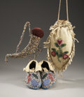 American Indian Art:Beadwork and Quillwork, THREE EASTERN SIOUX BEADED HIDE ITEMS. c. 1900... (Total: 3 Items)