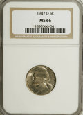 Jefferson Nickels: , 1947-D 5C MS66 NGC. NGC Census: (163/94). PCGS Population (138/1).Mintage: 37,822,000. Numismedia Wsl. Price for NGC/PCGS ...