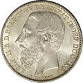 Belgian Congo: , Belgian Congo: Leopold II 2 Francs 1887, KM7, fully lustrousAU-UNC, lightly toned and very attractive....
