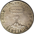 Chile: , Chile: Republic Peso 1817-FJ, KM82.2, Y to the left of the pillar,lightly toned XF-AU, slightly porous surface and some minor flaw...
