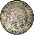 Chile: , Chile: Republic 8 Reales 1839-IJ, KM96.1, choice toned AXF,superbly struck details and a most attractive design. Very scarceand d...