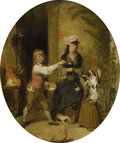 Fine Art - Painting, European:Antique  (Pre 1900), WILLIAM REDMORE BIGG (British 1755-1828). New Tricks. Oil oncanvas. 30 x 25 inches, oval (76.2 x 63.5 cm). Provenance...