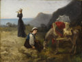 Fine Art - Painting, European:Antique  (Pre 1900), FANNY GAMBOGI (French Nineteenth Century). A Rest On The Journey, 1882. Oil on canvas. 19-1/4 x 25-1/2 inches (48.9 x 64...