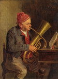 Fine Art - Painting, European:Antique  (Pre 1900), ALESSANDRO SANI (Italian). The Baritone Horn Player In FourStages, group of four. Oil on canvas. 12-3/4 x 9-3/4 inches,...(Total: 4 )