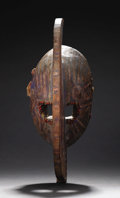 Other: , Bobo (Burkina Faso). Mask with Crescent shape. Wood, pigment, abrus seeds, fiber. Height: 15 inches Width: 5 ¾ inches Dept...