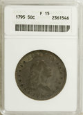 Early Half Dollars: , 1795 50C 2 Leaves Fine 15 ANACS. O-113, R.3. Deep lavender-graytoning drapes this Flowing Hair type coin. The portrait has...