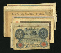 Germany. This lot has a dozen German notes from the first quarter of the Twentieth Century. One note grades Good with c...
