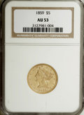 Liberty Half Eagles: , 1859 $5 AU53 NGC. NGC Census: (13/33). PCGS Population (3/8).Mintage: 16,700. Numismedia Wsl. Price for NGC/PCGS coin in A...