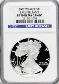 Modern Bullion Coins, 2007-W $1 Early Release Silver Eagle PR70 Ultra Cameo NGC. PCGSPopulation (654/0). (#149571)...
