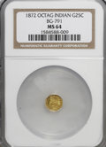 California Fractional Gold: , 1872 25C Indian Octagonal 25 Cents, BG-791, R.3, MS64 NGC. NGCCensus: (10/17). PCGS Population (93/18). (#10618)...