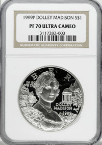 1999-P $1 Dolley Madison Silver Dollar PR70 Ultra Cameo NGC. NGC Census: (0/0). PCGS Population (64/0). Numismedia Wsl...