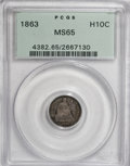 Seated Half Dimes, 1863 H10C MS65 PCGS....