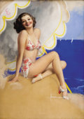 Paintings, ROLF ARMSTRONG (American 1889 - 1960). Beach Beauty, pinup illustration. Pastel on board. 39.5 x 27.5 in.. Signed lower ...