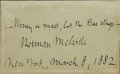 Autographs:Authors, Rare Herman Melville Autograph Quotation Signed in full...