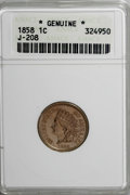 Patterns, 1858 P1C Indian Cent, Judd-208, Pollock-259, R.1--Genuine--ANACS....