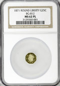 California Fractional Gold, 1871 25C Liberty Round BG-812 MS62 Prooflike NGC. (#710673)...