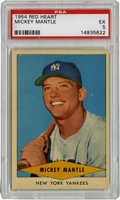 Baseball Cards:Singles (1950-1959), 1954 Red Heart Mickey Mantle PSA EX 5. While this card does notoriginate from a traditional cad issue, the cards jumps in ...