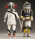 American Indian Art:Kachina Dolls, TWO HOPI COTTONWOOD KACHINA DOLLS. c. 1955... (Total: 2 Items)