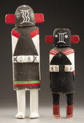 American Indian Art:Kachina Dolls, TWO HOPI COTTONWOOD KACHINA DOLLS. c. 1945. ... (Total: 2 Items)