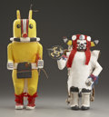 American Indian Art:Kachina Dolls, TWO HOPI COTTONWOOD KACHINA DOLLS. c. 1960...