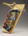 American Indian Art:Beadwork and Quillwork, A CHIPPEWA BEADED CLOTH MODEL CRADLEBOARD. c. 1900 . ...