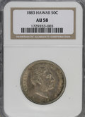Coins of Hawaii: , 1883 50C Hawaii Half Dollar AU58 NGC. NGC Census: (42/130). PCGSPopulation (38/188). Mintage: 700,000. (#10991)...