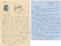 Autographs:Others, 1941 and 1951 Earle Combs Signed Handwritten Letter Lot of 2. Amember of the Hall of Fame, Earle Combs spent his career sh...