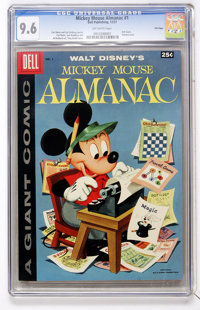 Dell Giant Comics Mickey Mouse Almanac #1 File Copy (Dell, 1957) CGC NM+ 9.6 Off-white pages