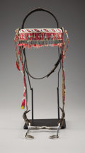 American Indian Art:Beadwork and Quillwork, A SIOUX BEADED AND QUILLED HIDE HORSE HEADSTALL. c. 1900...