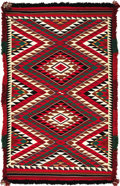American Indian Art:Weavings, A NAVAJO GERMANTOWN EYE DAZZLER WEAVING. c. 1900...