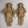 American Indian Art:Beadwork and Quillwork, A PAIR OF PLAINS BEADED HIDE DOLLS. c. 1920... (Total: 2 Items)